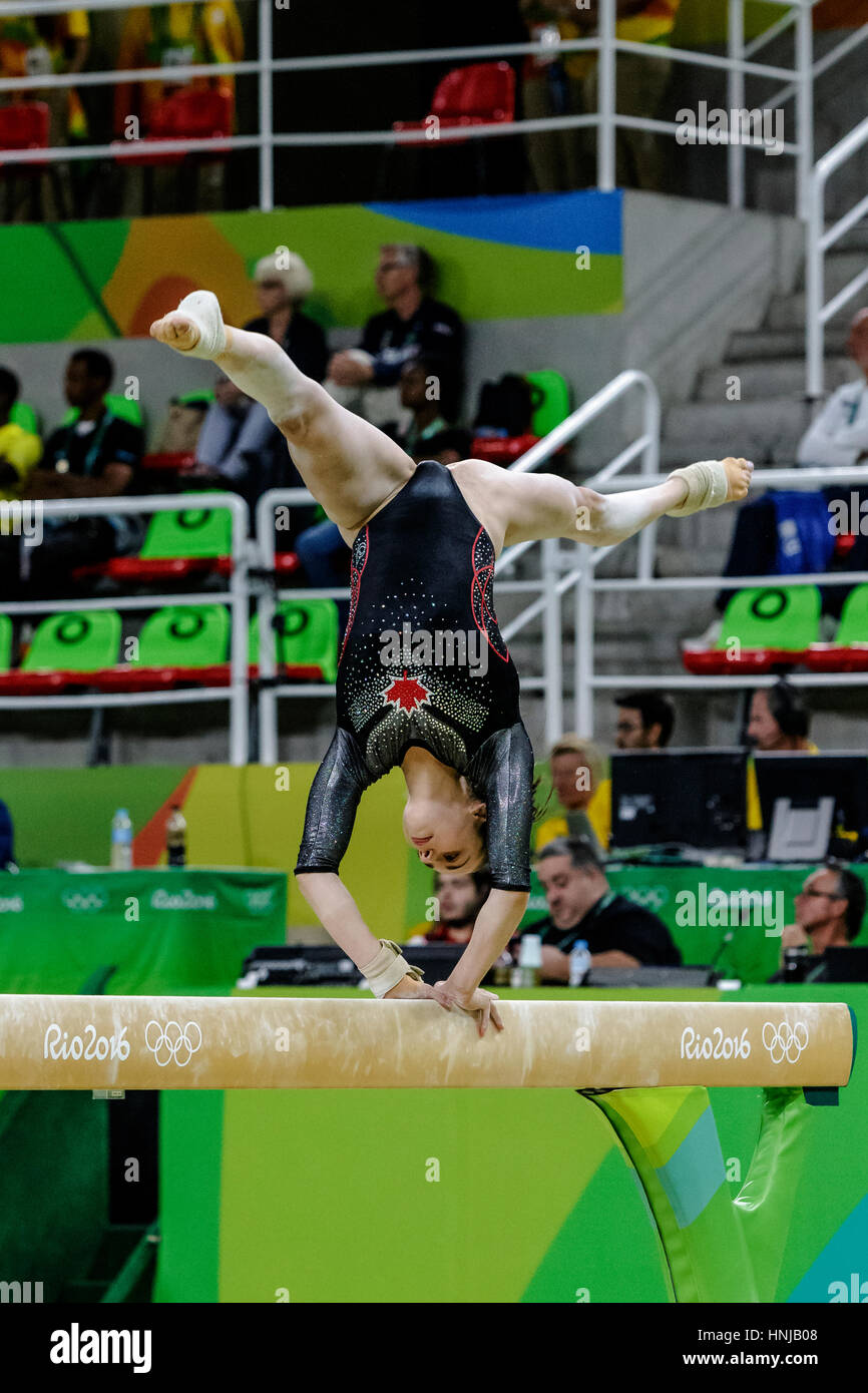 Rio de Janeiro, Brazil. 11 August 2016 .Isabela Onyshko (CAN) performs on the balance beam during Women's artistic - Stock Image