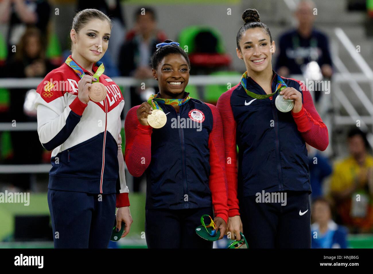 Rio de Janeiro, Brazil. 11 August 2016.Simone Biles (USA) -gold, Alexandra Raisman (USA)-silver and Aliya Mustafina - Stock Image