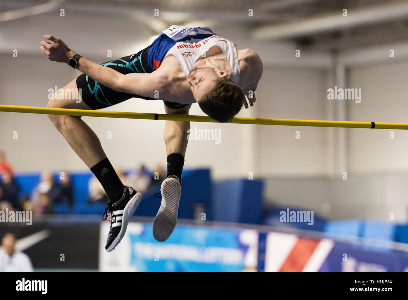 Allan Smith won the high jump at the British Athletics Indoor Team Trials at the English Institute of Sport, Sheffield, - Stock Image