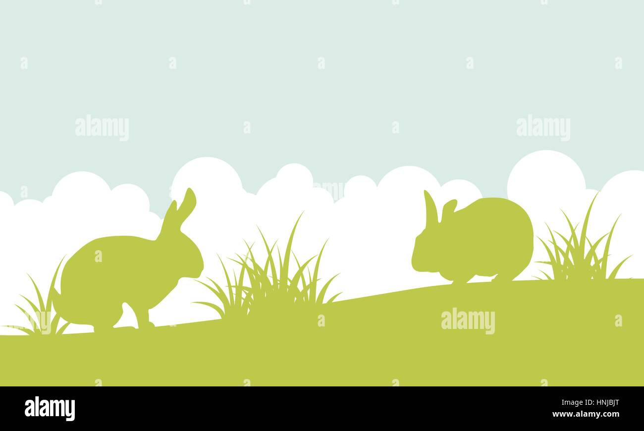 landscape easter bunny on hill stock photos landscape easter bunny