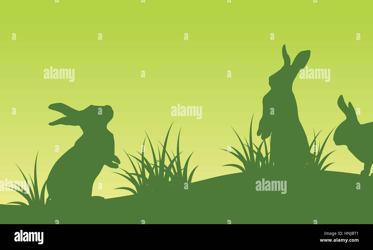on green backgrounds easter bunny silhouettes landscape stock vector