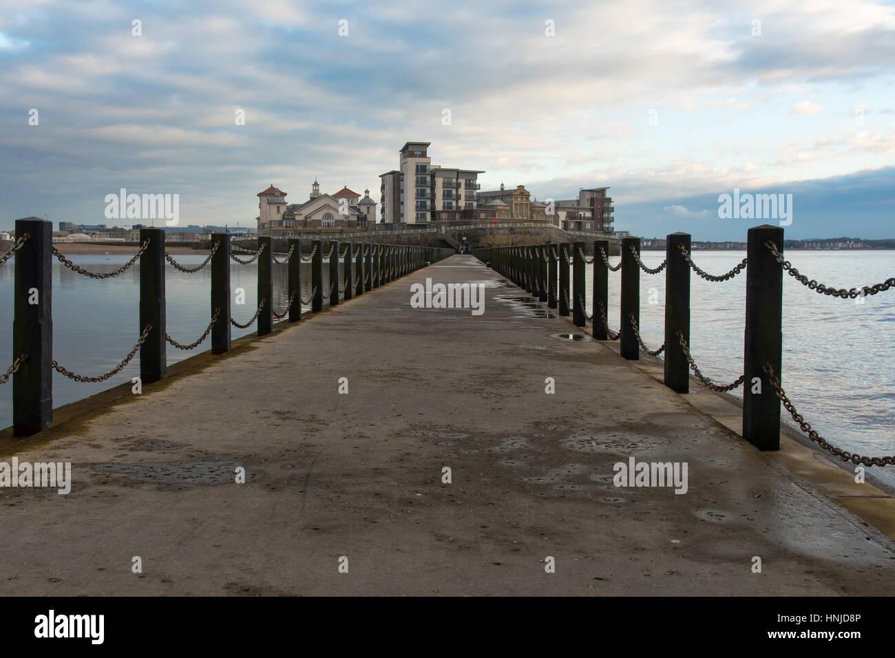 Knightstone Island, Weston-super-Mare, Somerset, UK Award winning development on island on English coast, with causeway - Stock Image