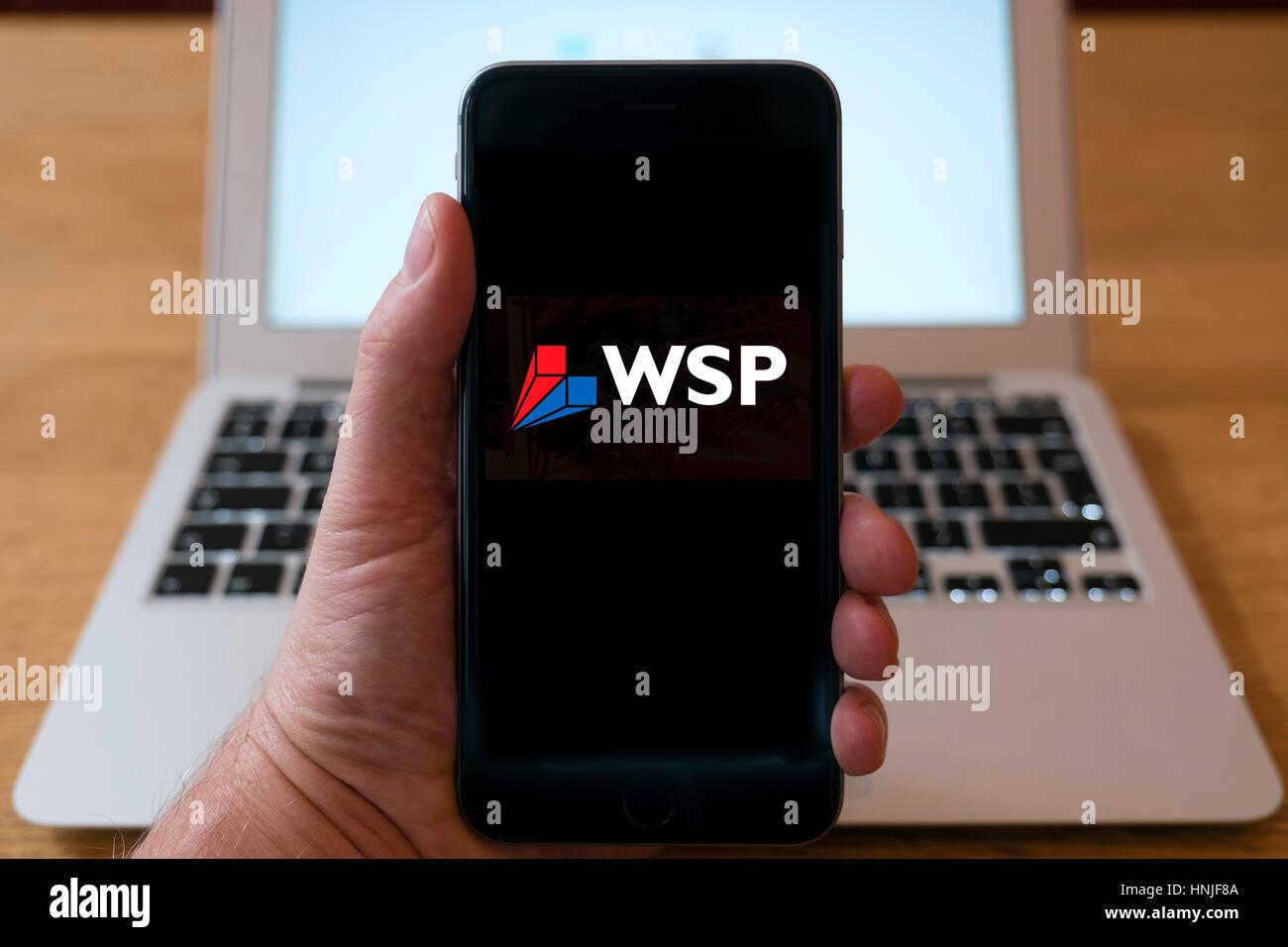 Logo of WSP international engineering consultant on smart phone screen. - Stock Image