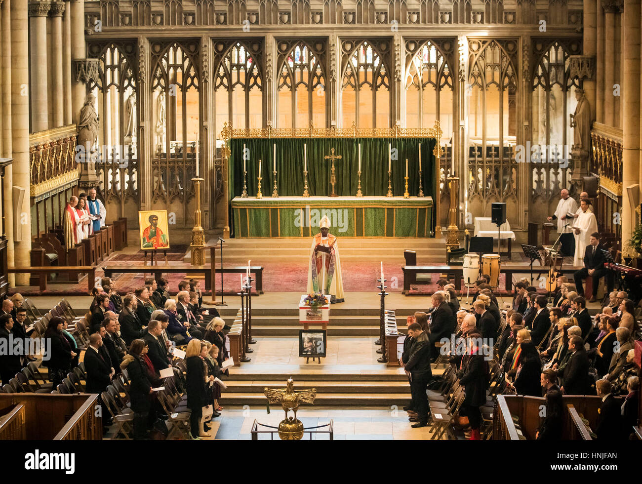 The funeral of Katie Rough takes place at York Minster, the seven-year-old was found with severe lacerations to - Stock Image