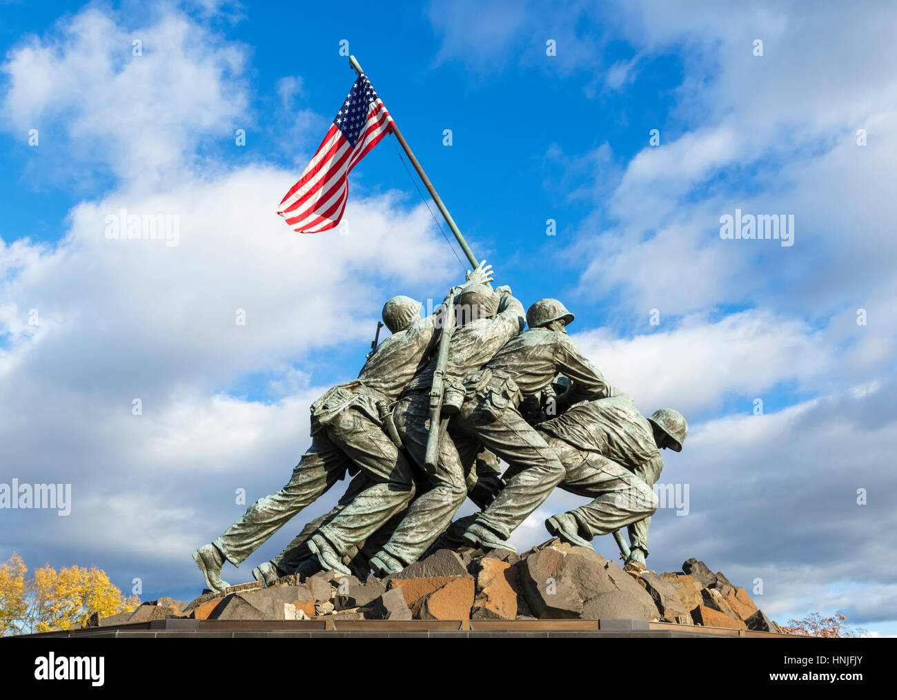 Iwo Jima Memorial, Washington DC. The United States Marine Corps War Memorial, near Rosslyn, Arlington County, Virginia, - Stock Image