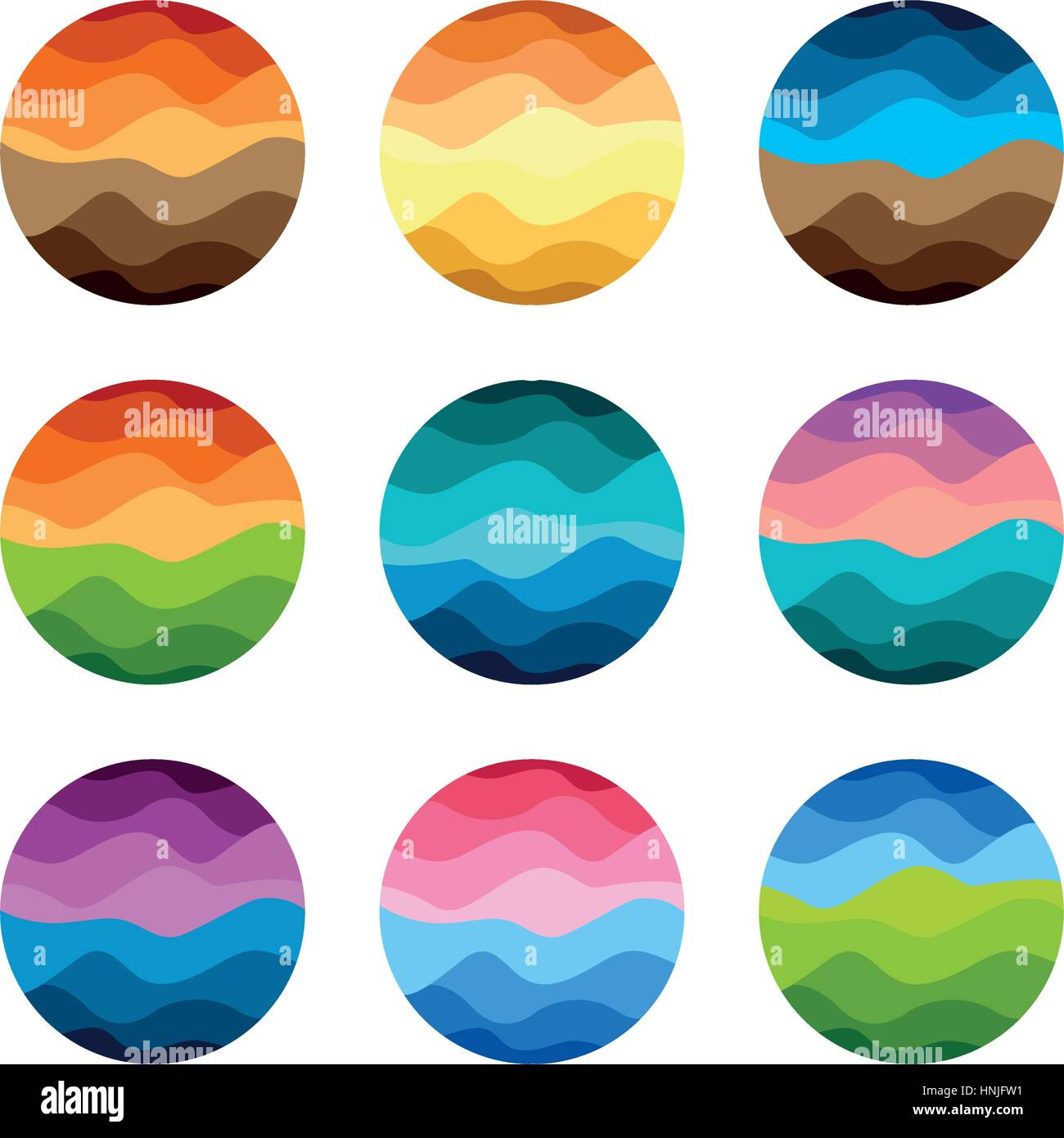 Isolated Abstract Colorful Round Shape Logos Set On White