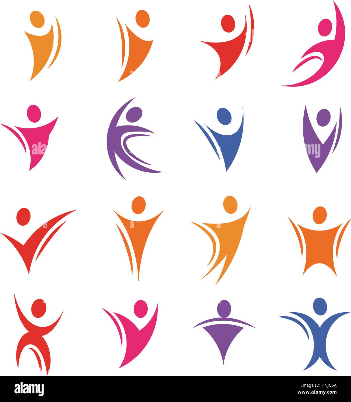 Isolated colorful abstract human body silhouette logos set vector illustration. - Stock Image