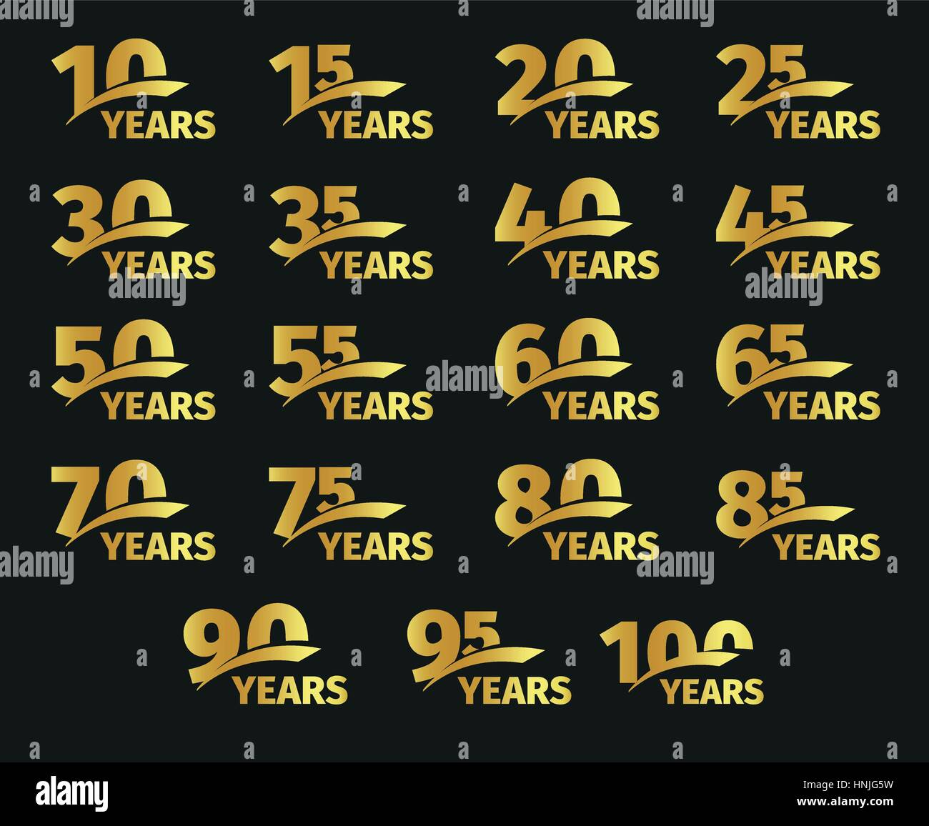 Isolated golden color numbers with word years icons collection on black background, birthday anniversary greeting - Stock Vector