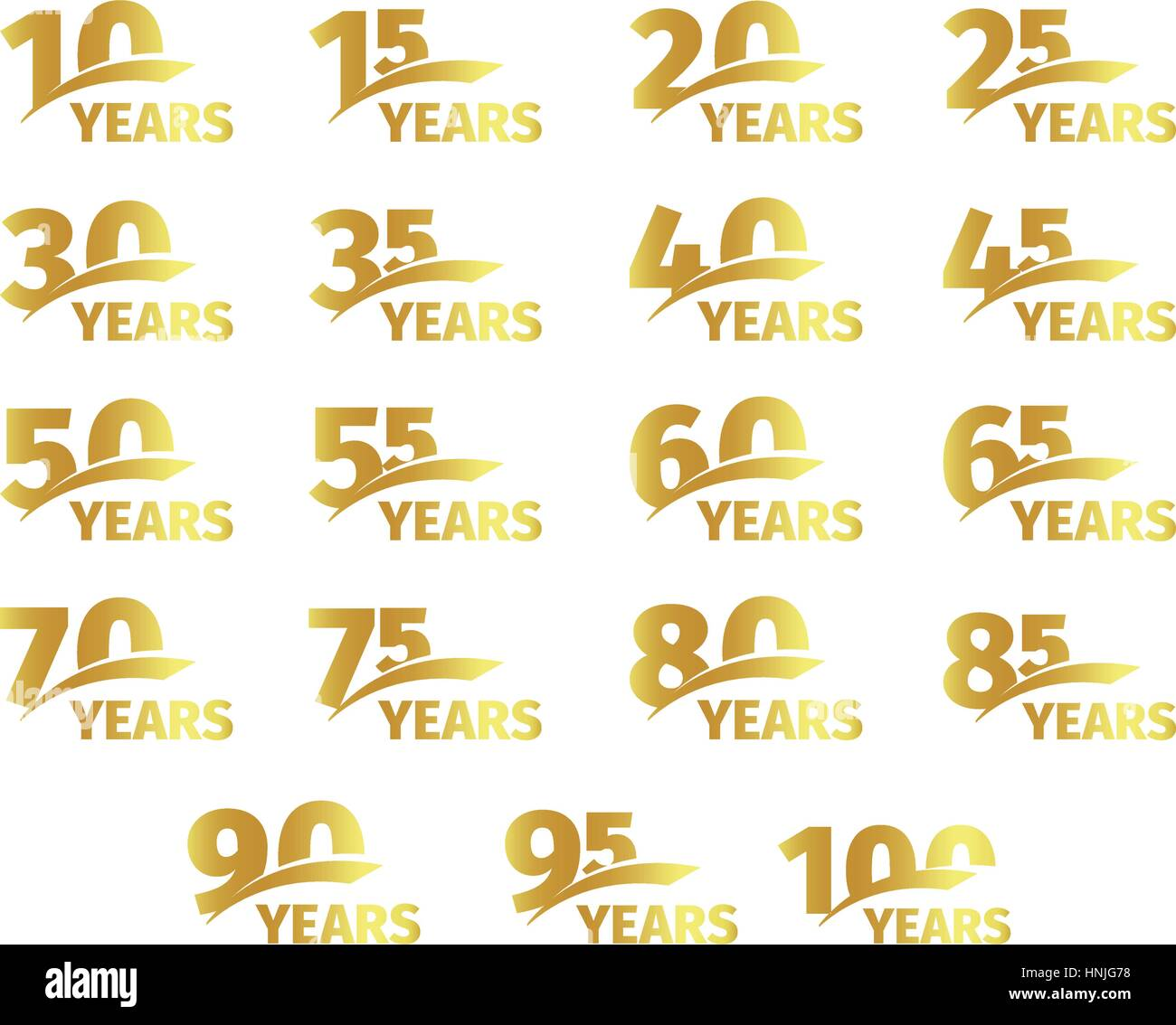 Isolated golden color numbers with word years icons collection on white background, birthday anniversary greeting - Stock Vector