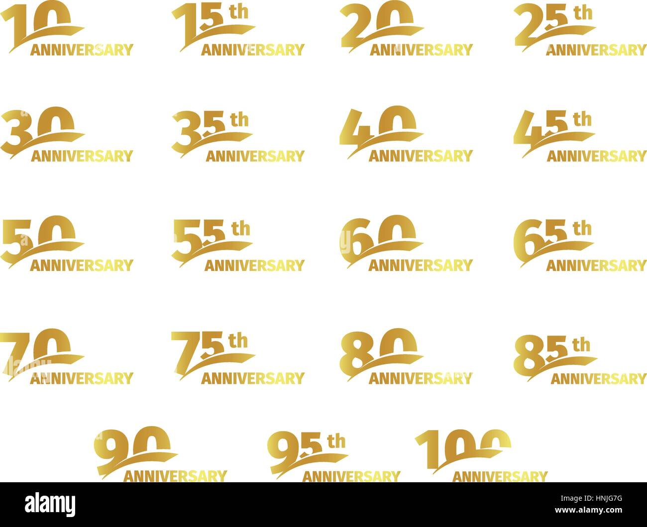 Isolated golden color numbers icons collection on white background, birthday anniversary greeting card elements - Stock Vector