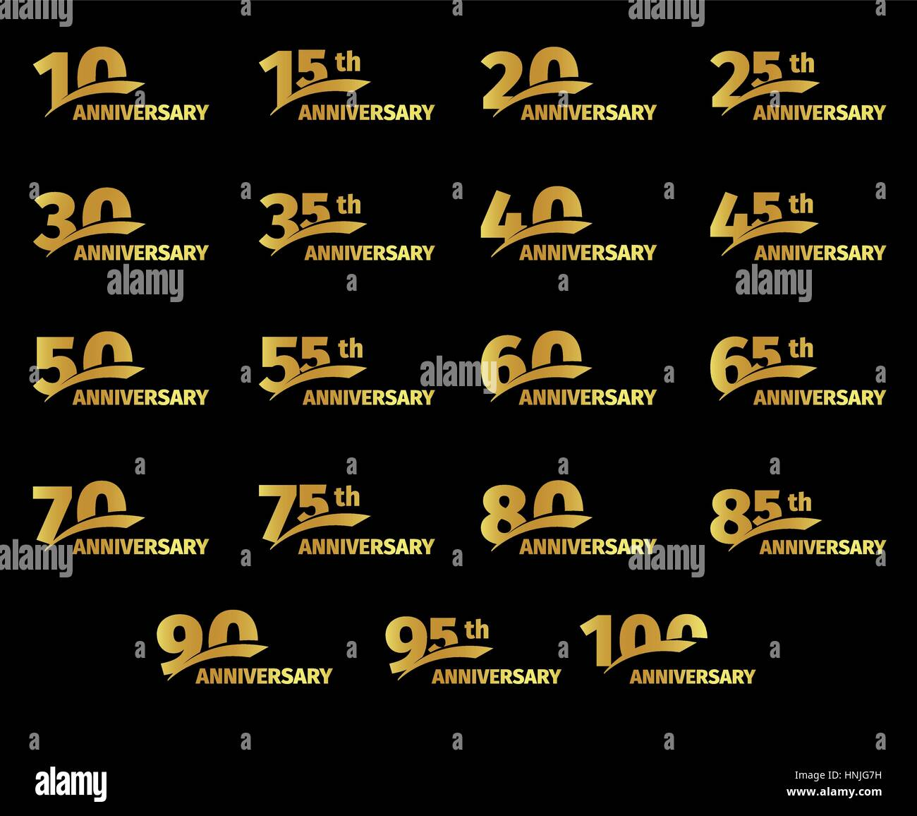 Isolated golden color numbers icons collection on black background, birthday anniversary greeting card elements - Stock Vector
