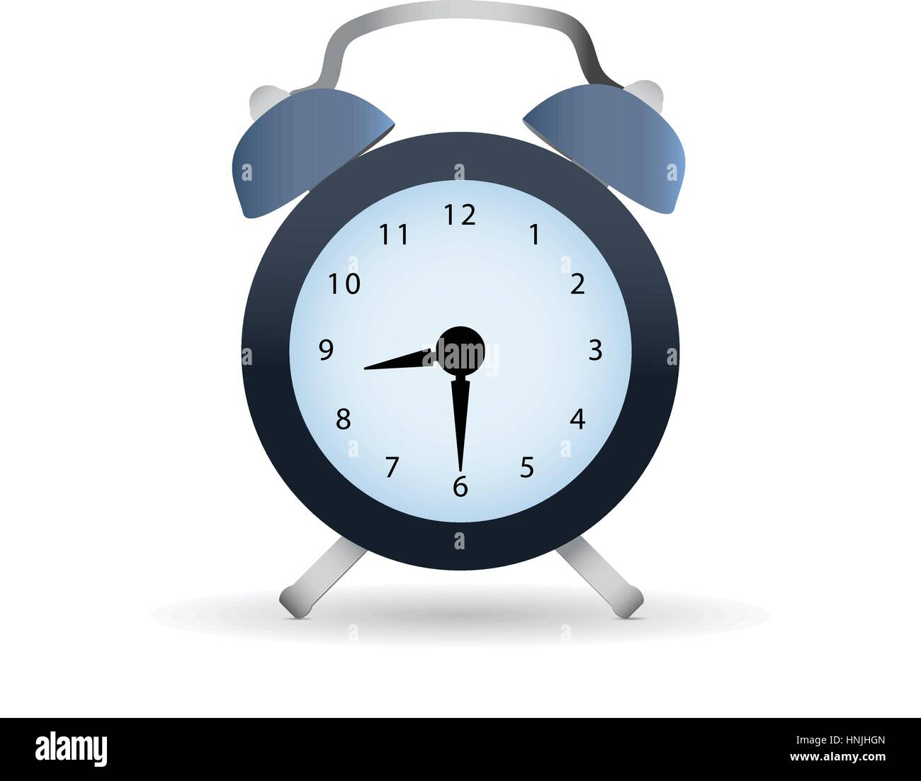 Classic dark alarm clock over white background with shaddow - Stock Image