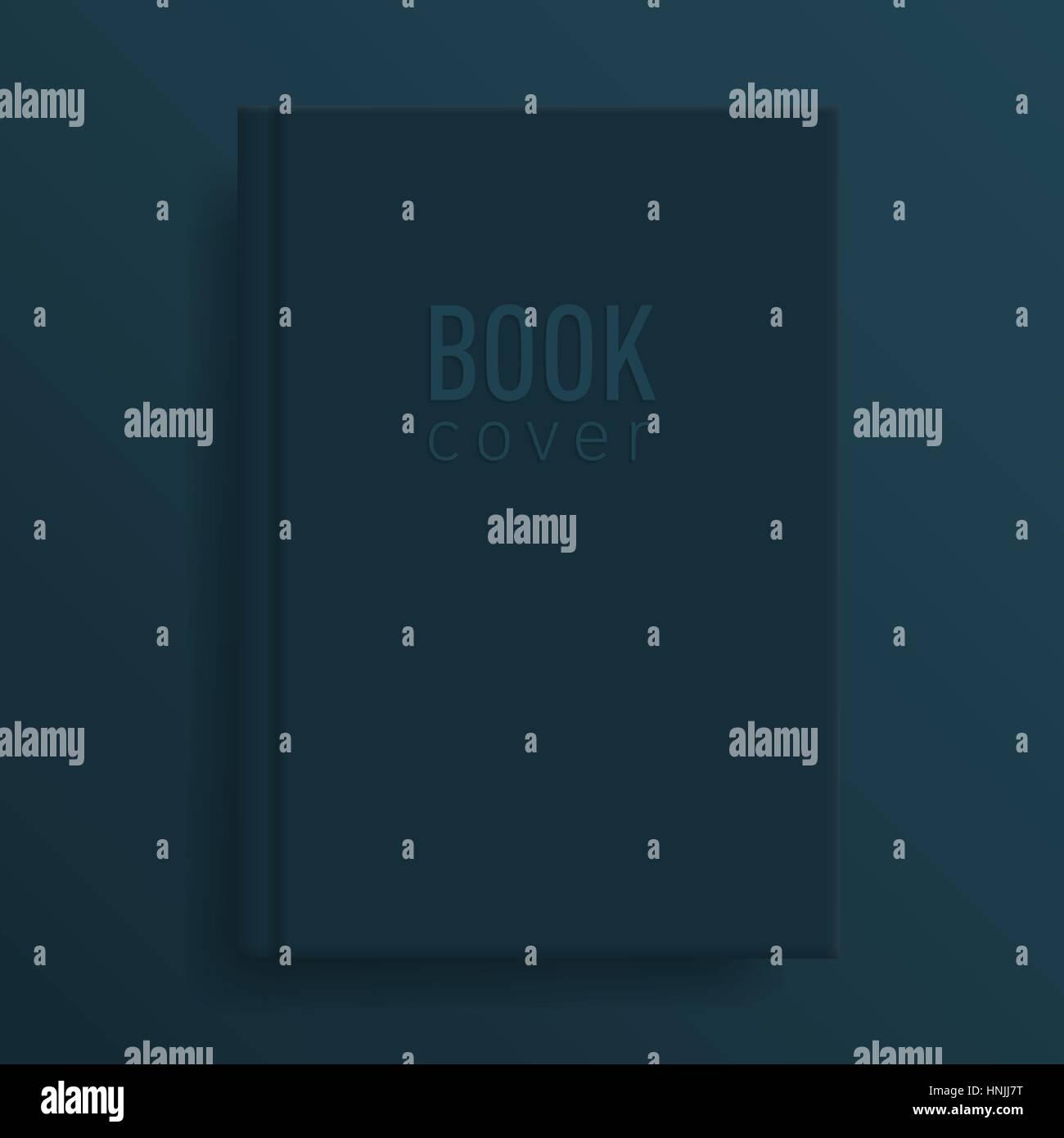 Book Cover Mockup Deep Indigo Colour Blank Template Idea For Diary Or Textbook Design School Educational Institution Vector Illustrat