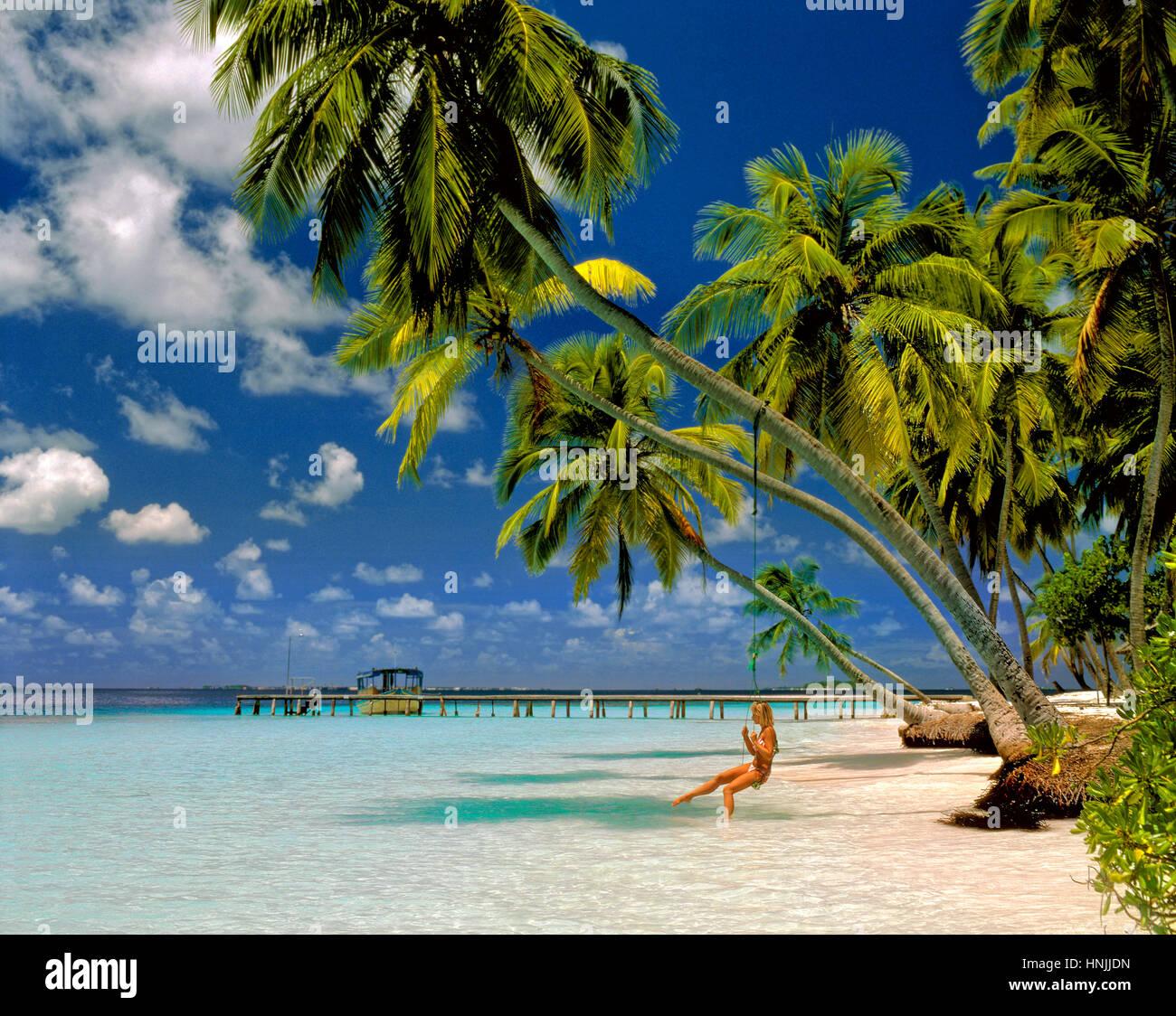 Girl on Swing Under Palm Trees, Kuda Bandos Island, North Male Atoll, Maldives, Maldive Republic, Indian Ocean Atoll. Stock Photo