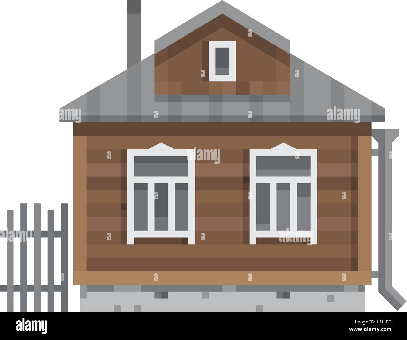 Old Russian country house. All season dacha. Wood cabin for living. Vector illustration art. - Stock Vector
