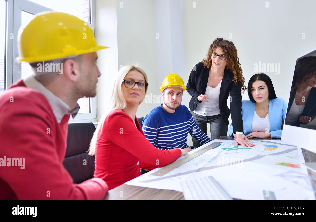 Young team have a Meeting In Architects Office - Stock Image