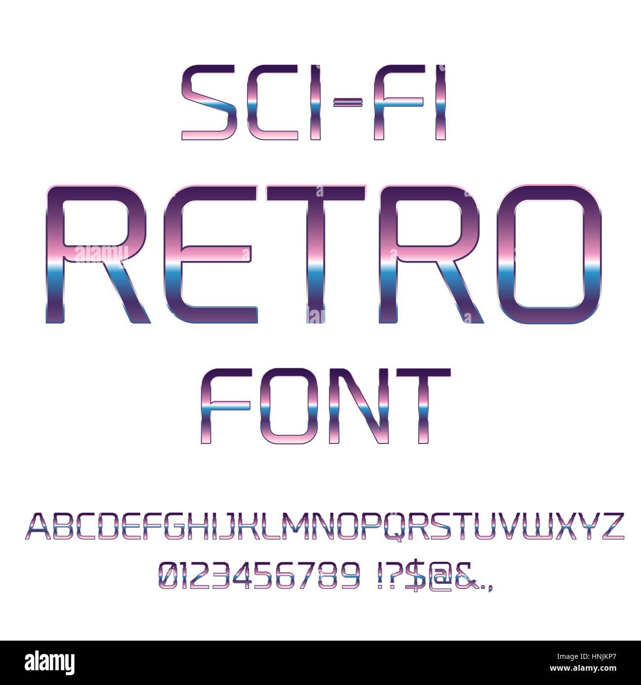 Sci-Fi retro font - Stock Image