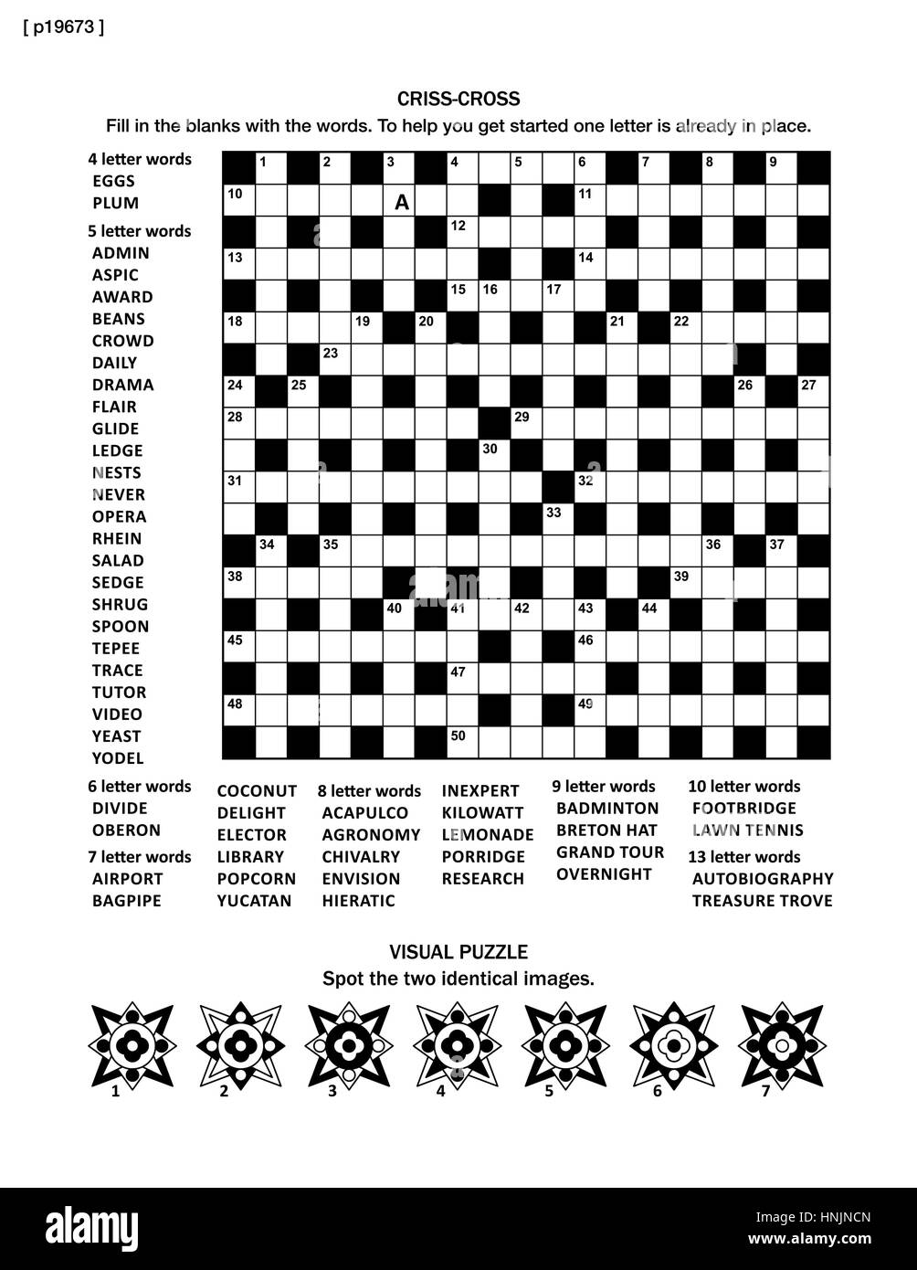 Puzzle page with 19x19 criss cross word game English language