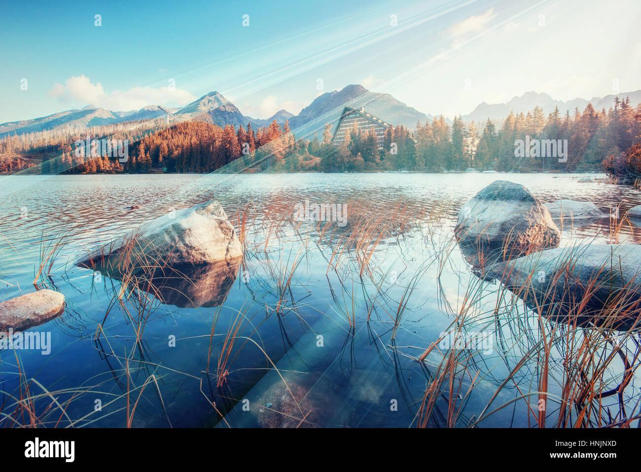 Majestic mountain lake in National Park High Tatra. Strbske ples - Stock Image