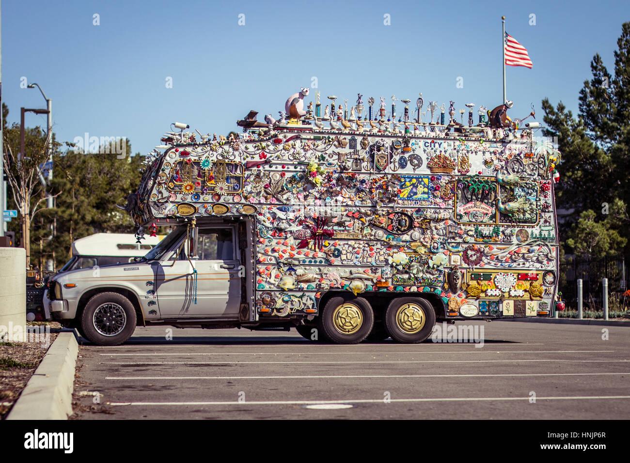 Crazy Decorated Theme parked Truck Car tourist san Diego Sea Port Village - Stock Image