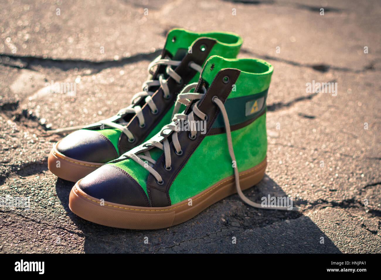 Legend of Zelda Inspired Custom Sneakers - Stock Image