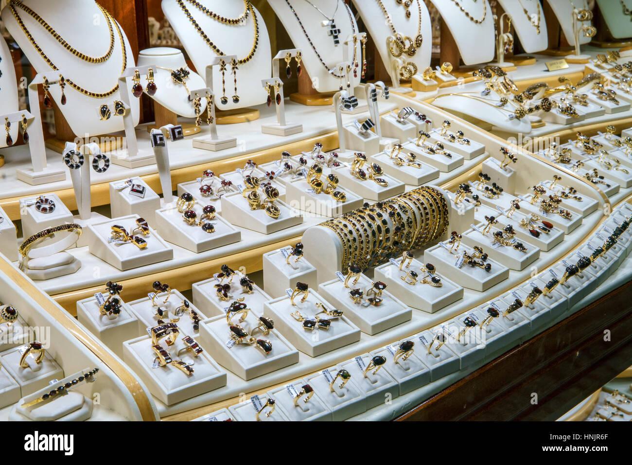 Jewellery showcase, garnet & gold, Prague, Czech Republic - Stock Image