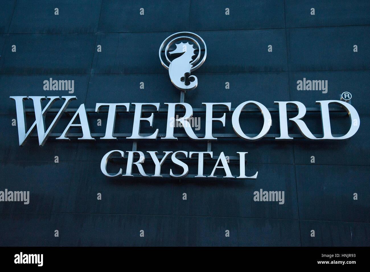 The Waterford crystal logo on the front of the Waterford Crystal Factory shop in Waterford city, Waterford, Ireland - Stock Image