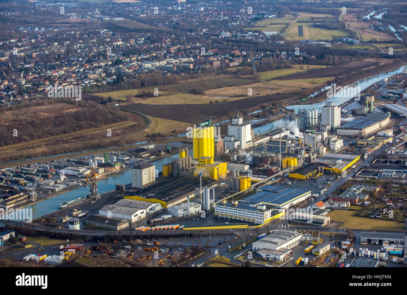 Hamm harbor, oil mill Brökelmann, oil producer, Hamm, Ruhr area, North Rhine-Westphalia, Germany - Stock Image