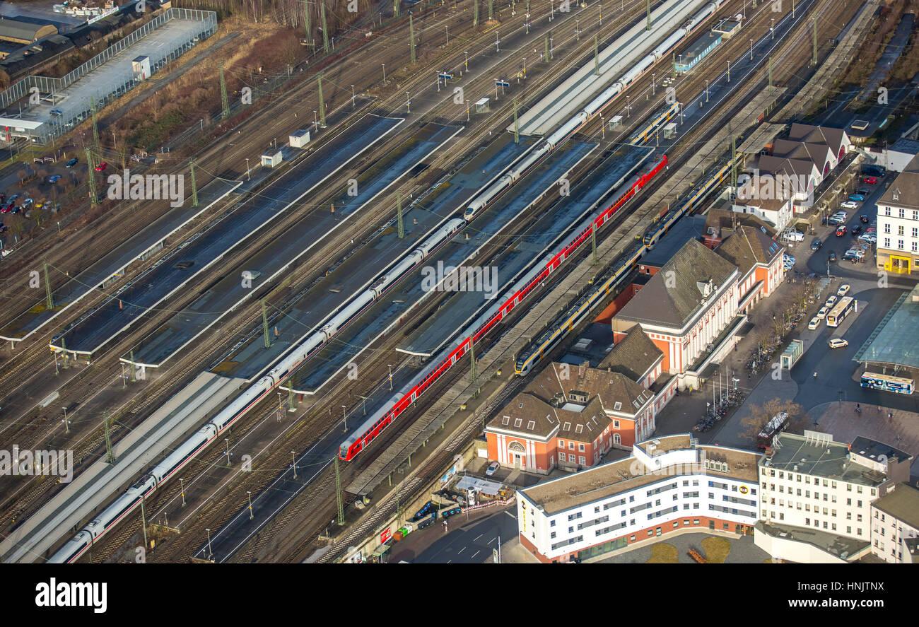 Main Station Hamm, main station Hamm, freight station Hamm, Hamm, Ruhr area, North Rhine-Westphalia, Germany - Stock Image