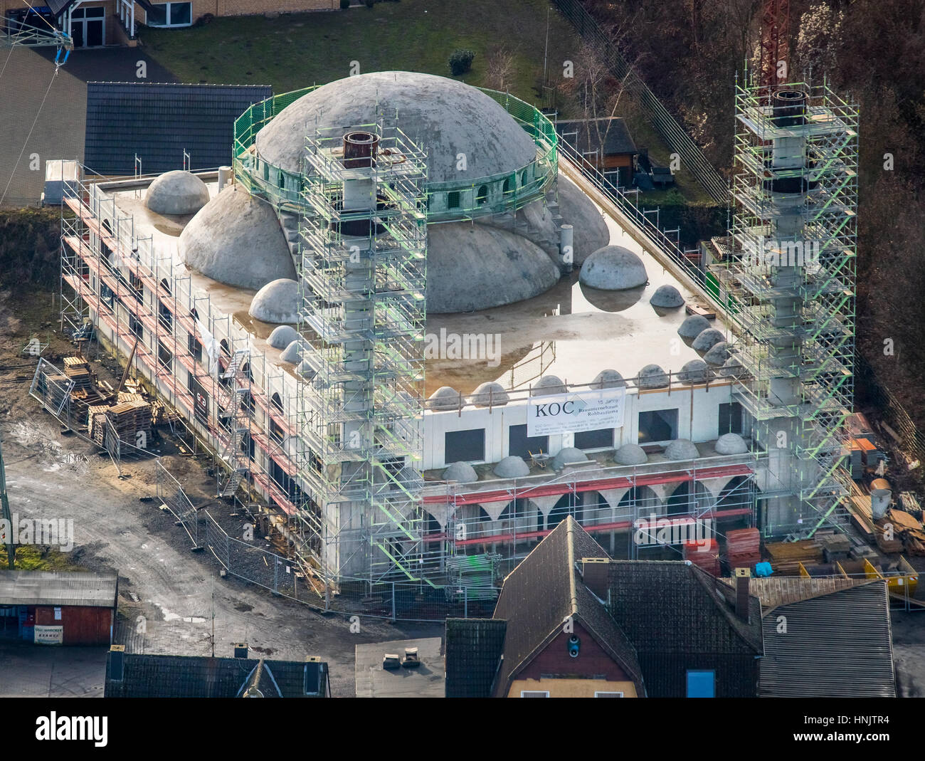 New Herringer Mosque on Dortmunderstraße, under construction, cladding minarets, Hamm, Ruhr area, North Rhine - Stock Image
