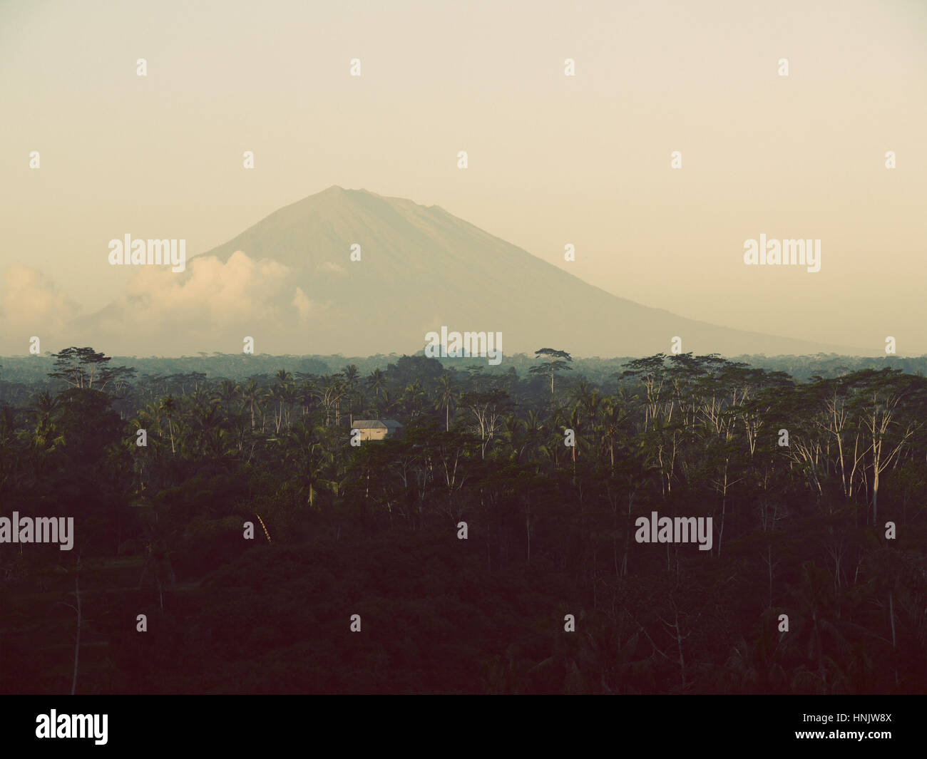 Holy mountain Agung spectacular view. Bali, Indonesia - Stock Image