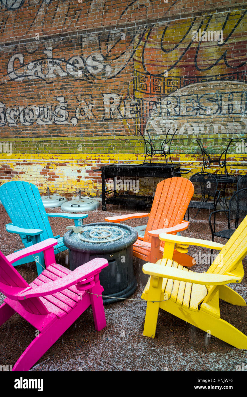 Colorful Outdoor Chairs U0026 Colorful Wall Mural In Snow On Patio Of Boathouse  Cantina Restaurant; Salida; Colorado: USA