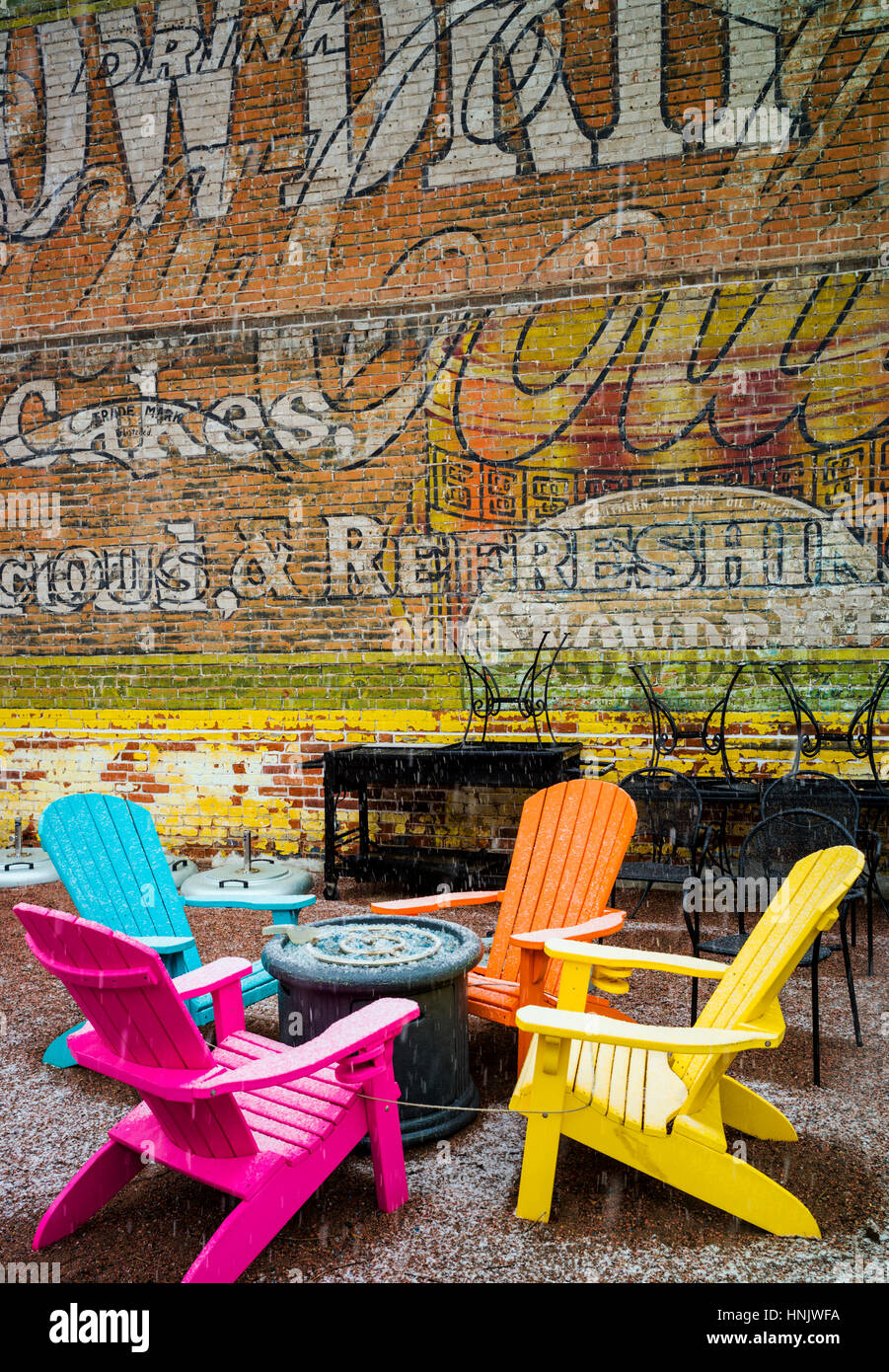 Colorful outdoor chairs salida colorado usa