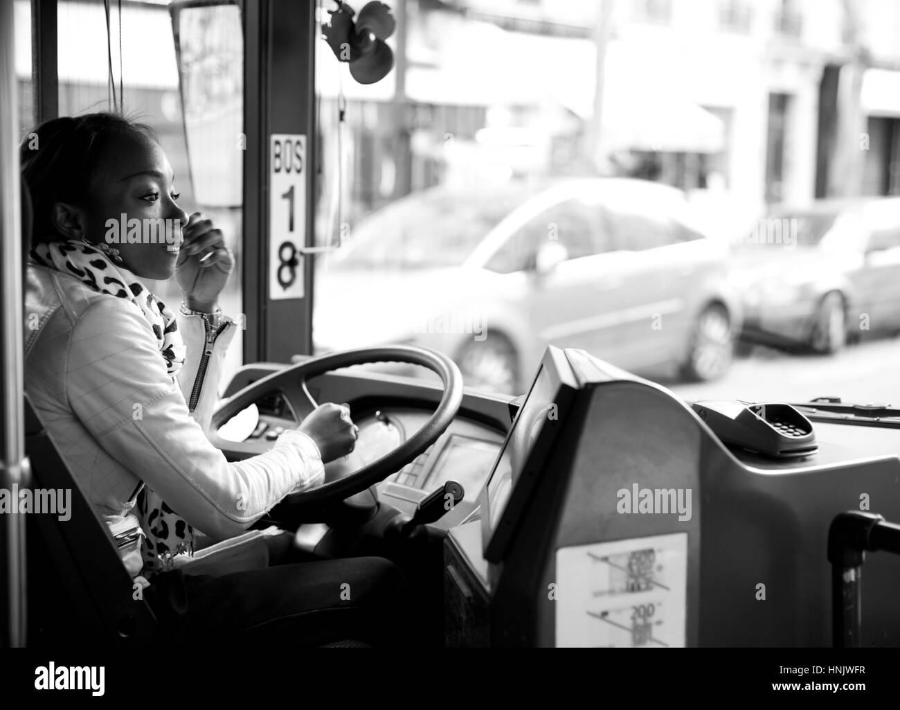 Black and white portrait of african american bus driver in new york the city of new york is the most populous city in the united states