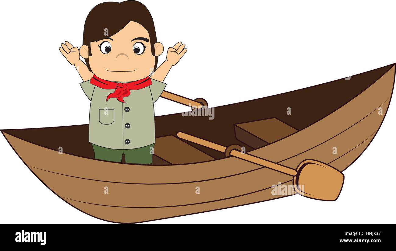 Canoe with child explorer and rowing vector illustration - Stock Vector