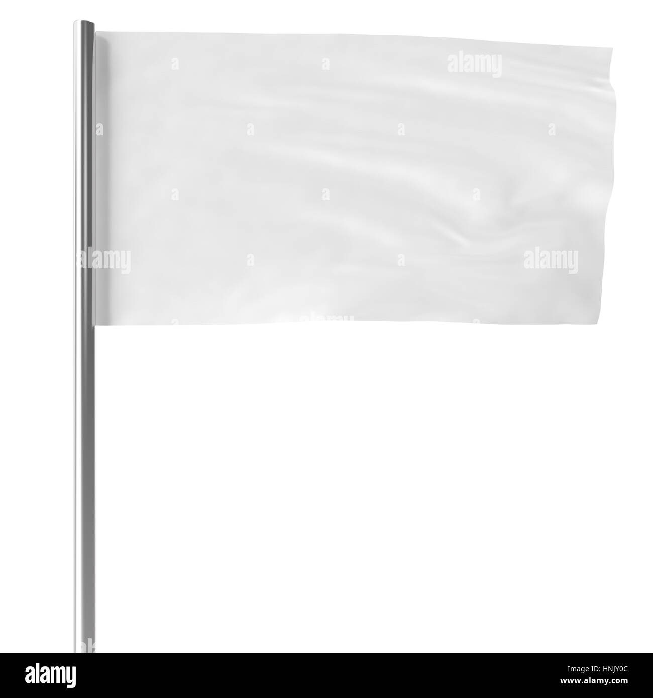 White on flagpole flying in the wind empty mock-up flag isolated, 3d rendering - Stock Image