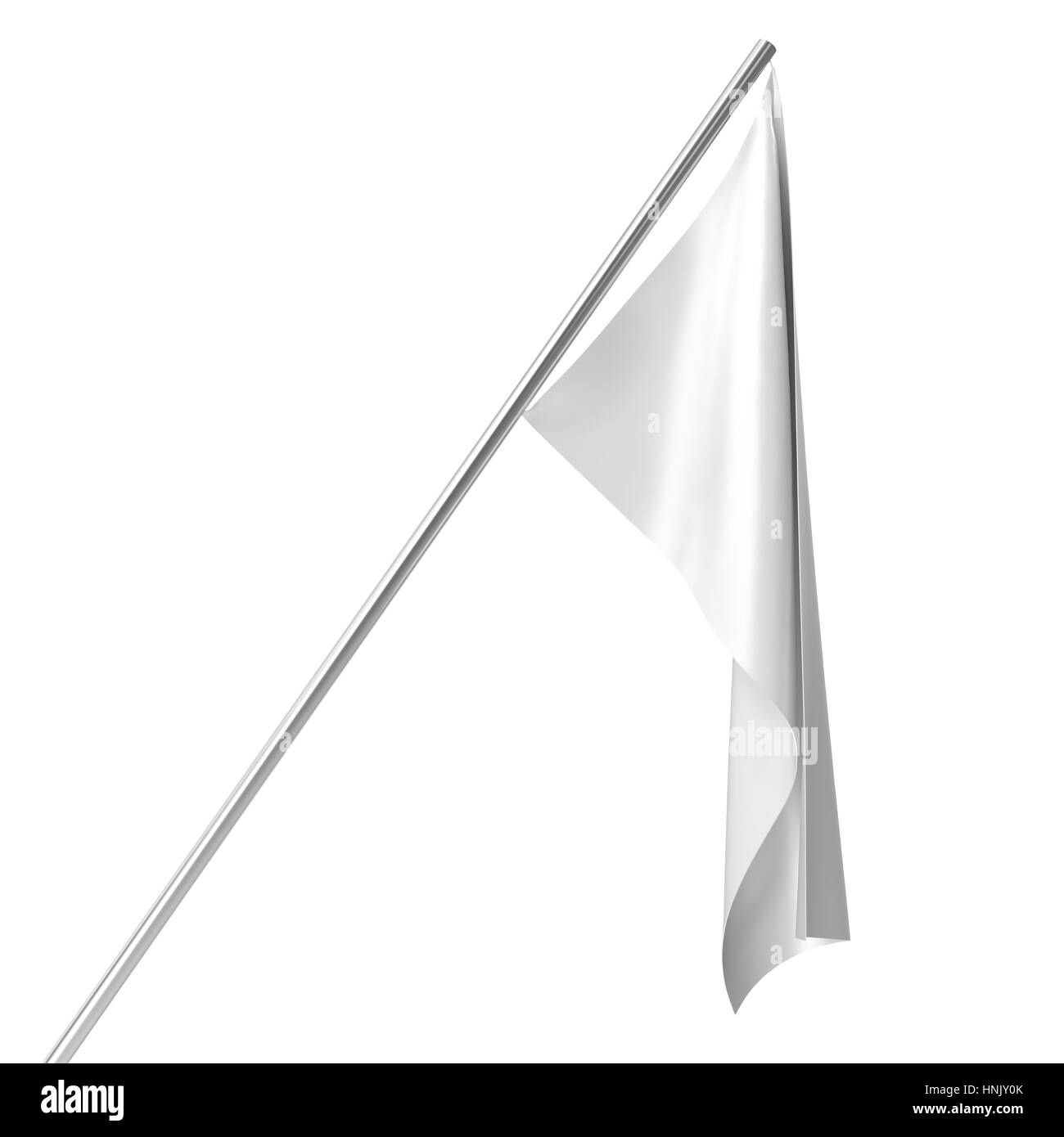 White flag on flagpole at rest empty mockup, flag isolated on white background. Blank Mock-up for your design projects, - Stock Image