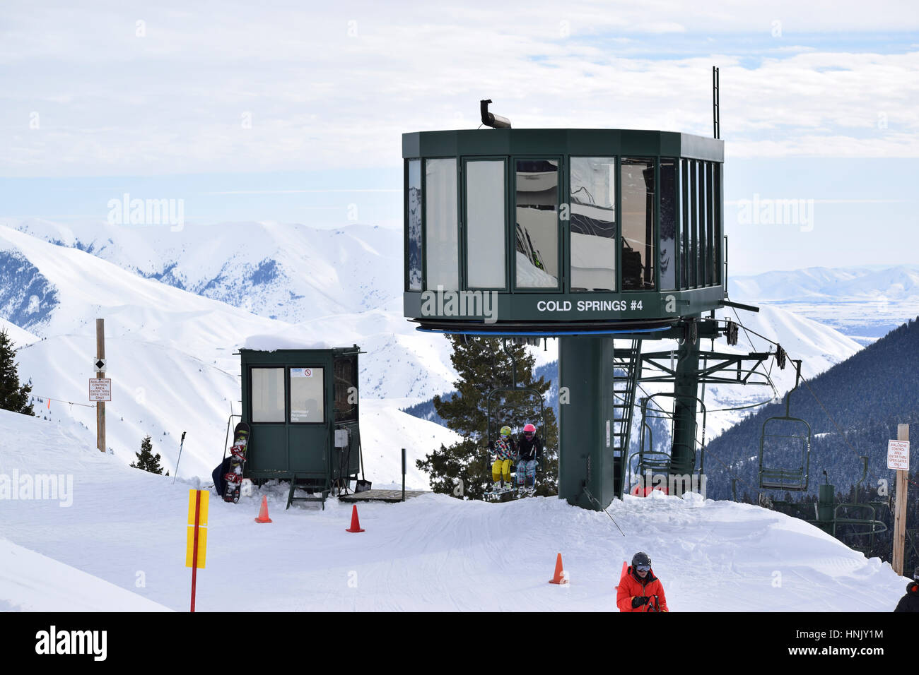 Sun Valley Idaho Chair Lift at the top of the warm springs chairlift. Picture taken with a Nikon D5300. Email for - Stock Image