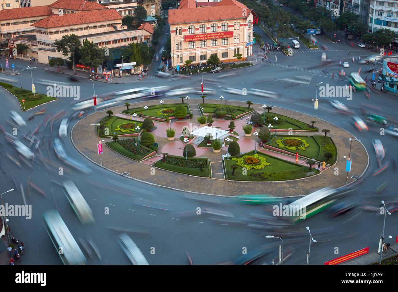 Blurred traffic at Ben Thanh roundabout, Ho Chi Minh City (Saigon), Vietnam - Stock Image