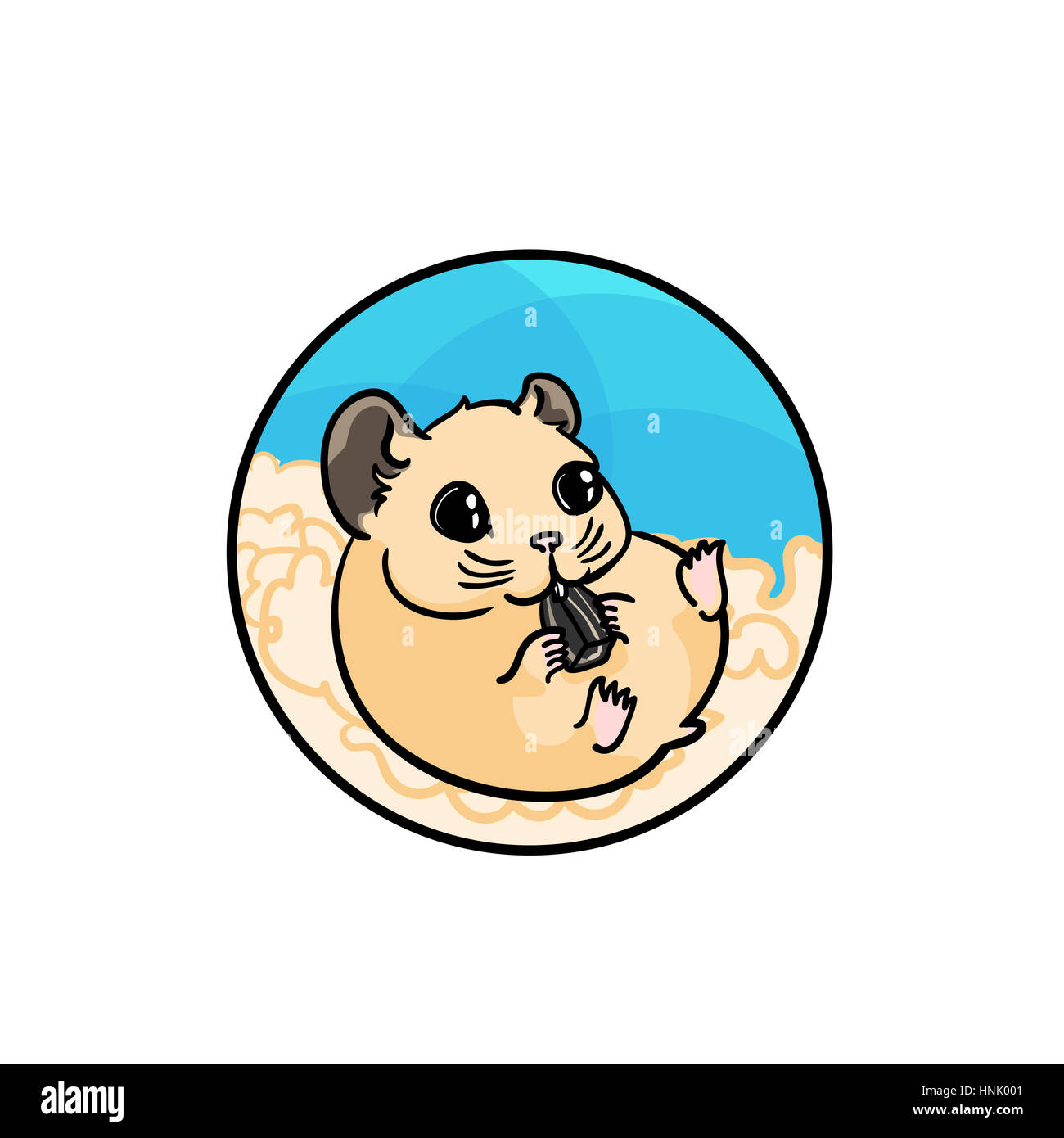 Syrian hamster eating sunflower seed. Animal art, cute cartoon style, hand drawn illustration. Suitable for pet - Stock Image