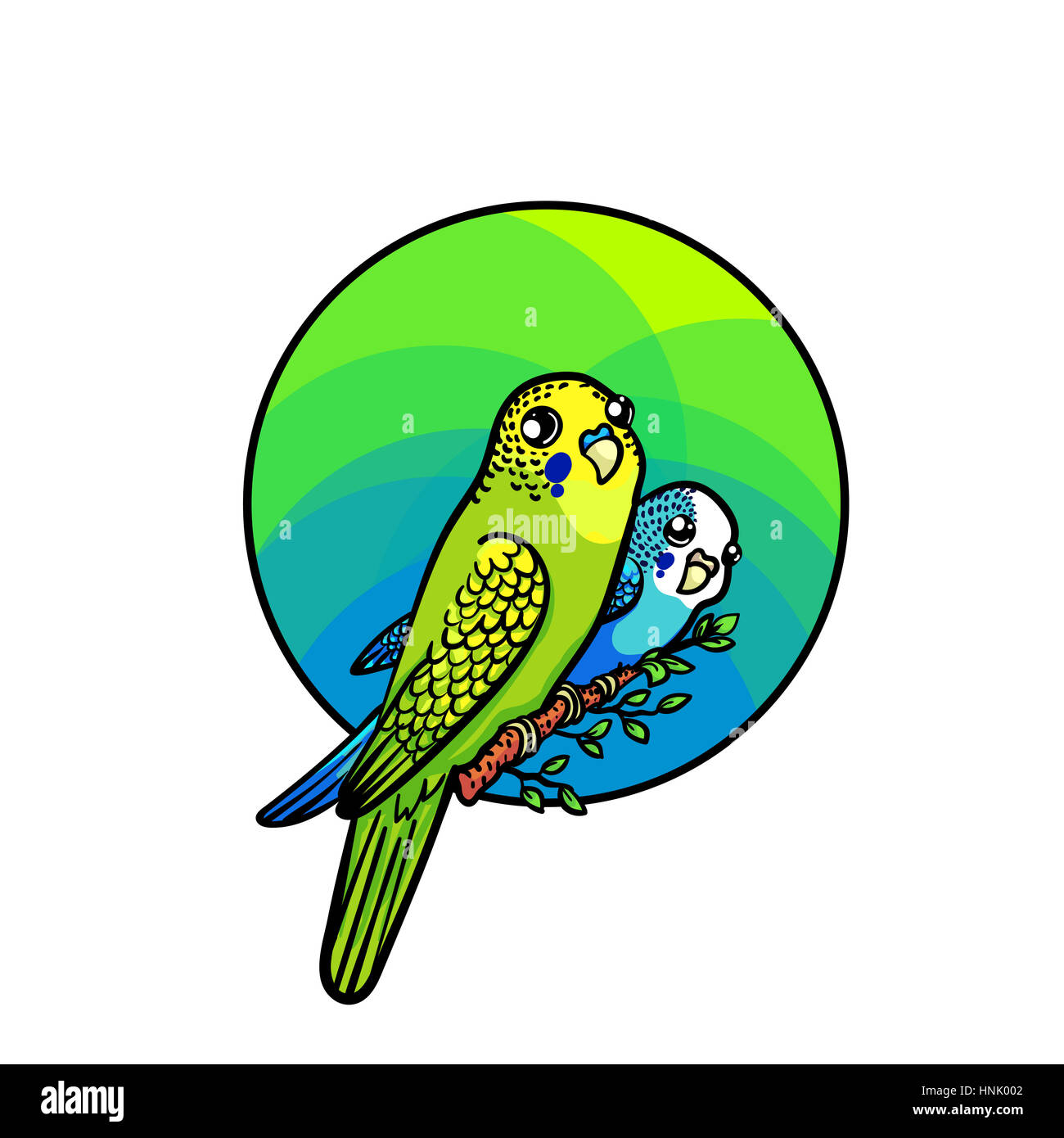Bright Budgie Of Green And Blue Colors Animal Art Cute Cartoon Style Hand Drawn Illustration Suitable For Pet Shop Or Zoo Ads Label Design Bir