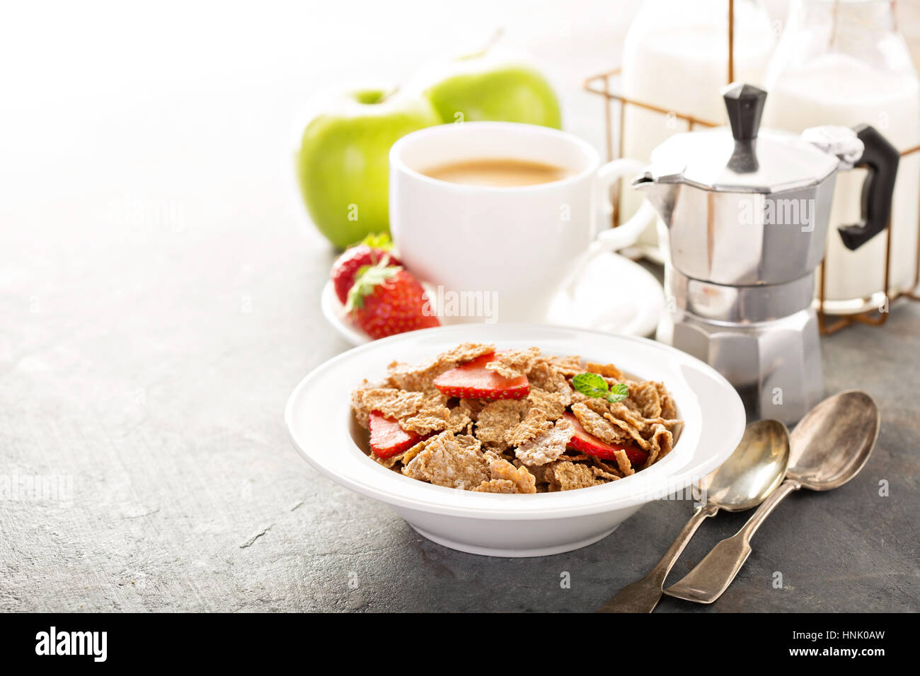 Multigrain wholewheat healthy cereals with fresh strawberryfor breakfast with copyspace Stock Photo