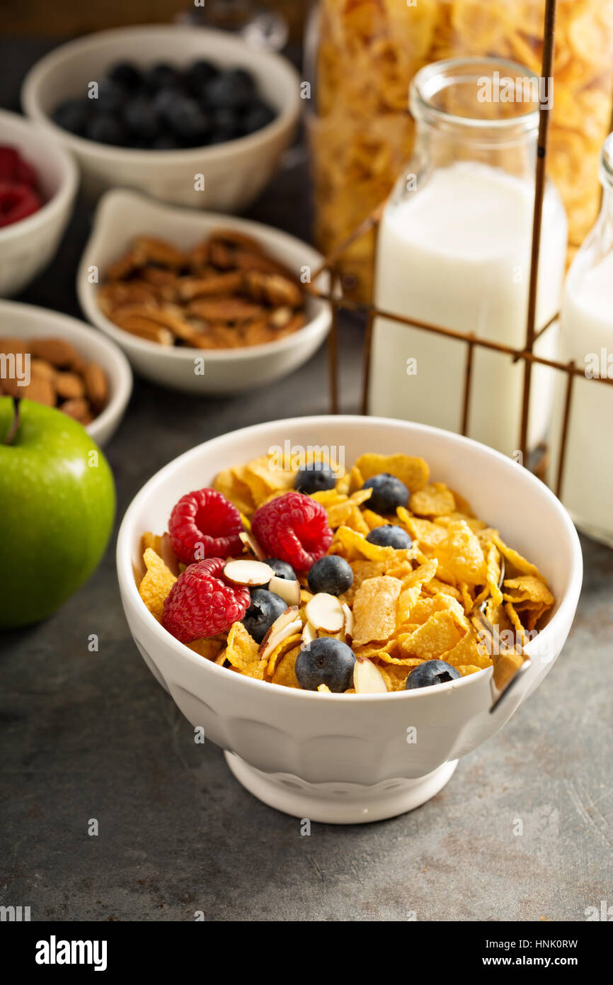 Breakfast cereal bar or buffet wih variety of cereals, fruit and nuts - Stock Image