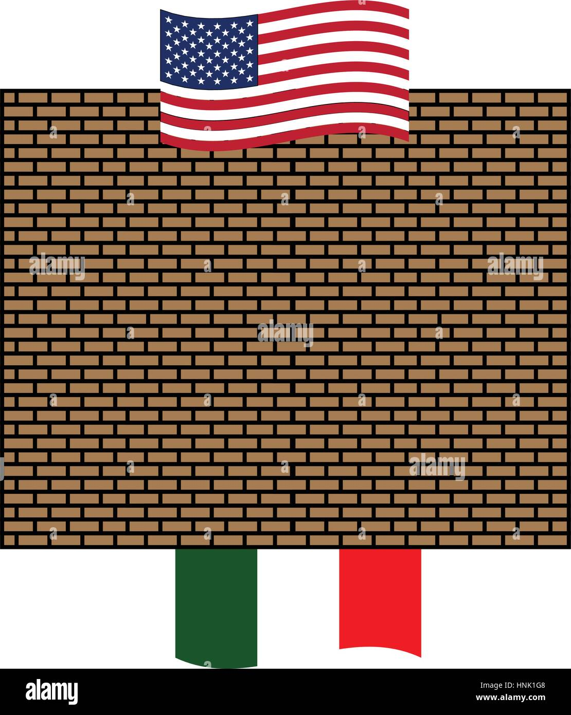Symbolic wall between U.S.A. and Mexico, concept illustration design - Stock Vector