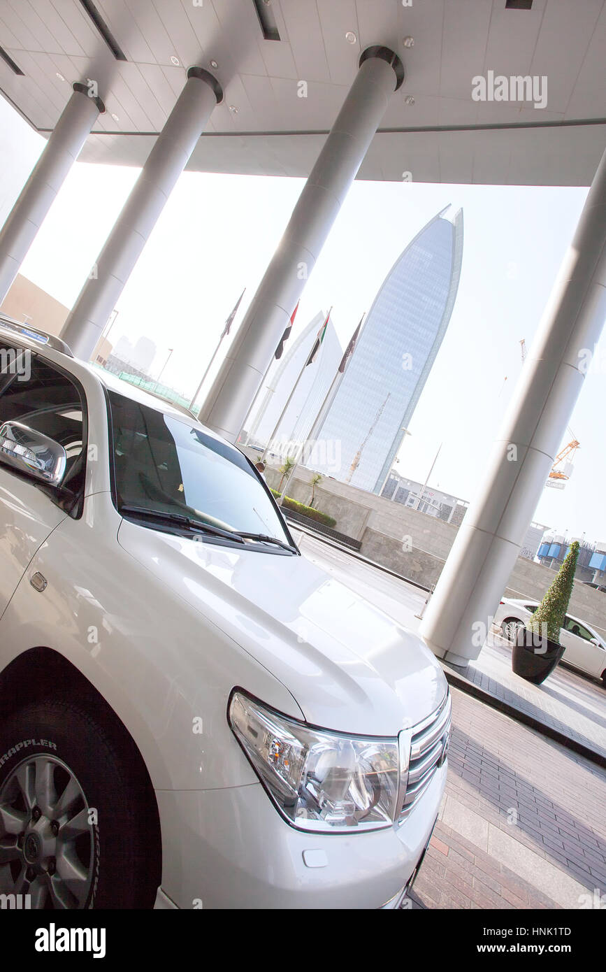 Parked car outside Dubai Mall. - Stock Image