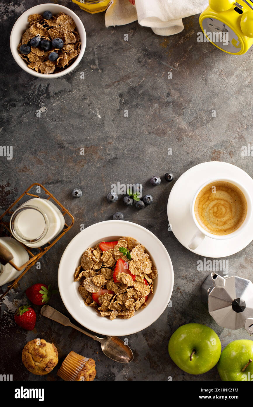 Multigrain wholewheat healthy cereals with fresh strawberryfor breakfast with copyspace overhead shot Stock Photo