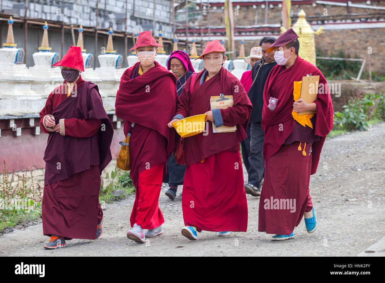Nuns and monks participate at prayer rituals at the Tagong Tibetan Buddhist nunnery. - Stock Image