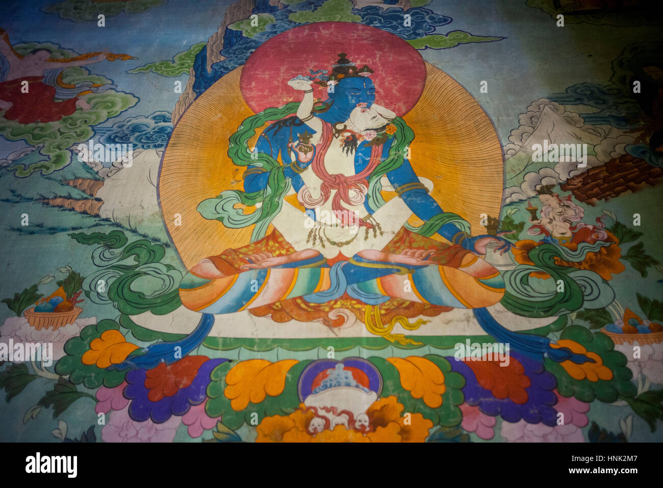 Paintings inside Tagong Monastery in the Tibetan Plateau region in Sichuan, China. - Stock Image