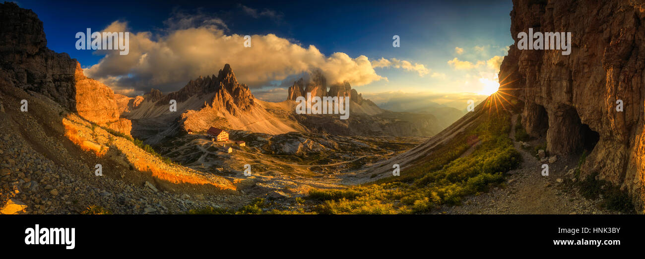 Sunset panorama at Tre Cime Di Lavaredo, Dolimites, Italy - Stock Image