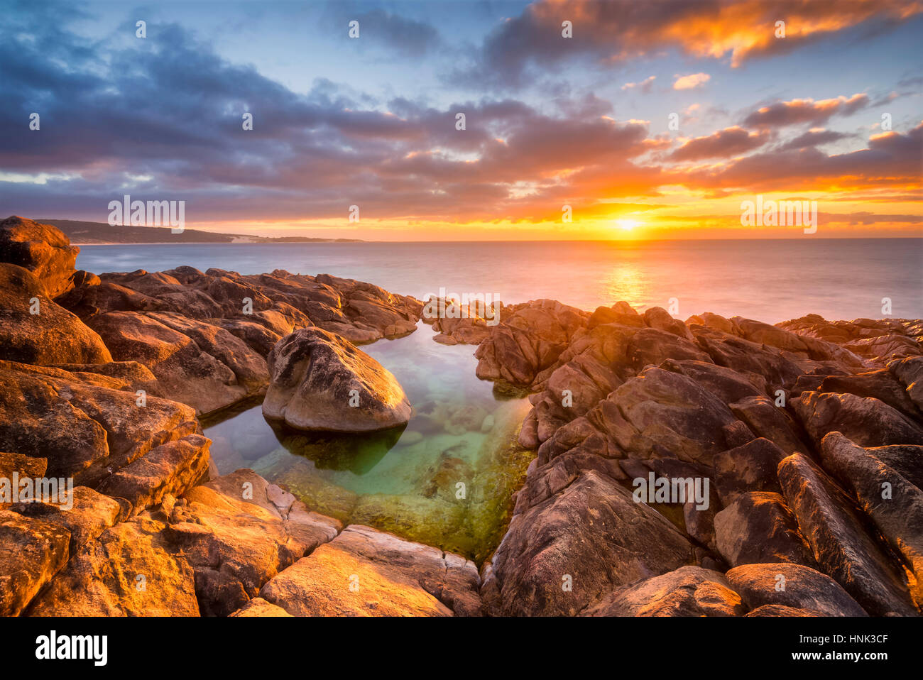 Golden Coastal Sunset In Wyadup, Western Australia - Stock Image